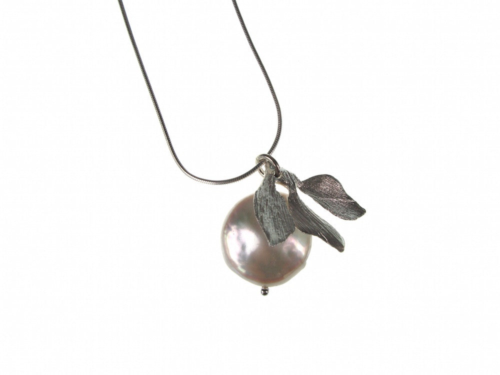 Coin Pearl & Leaf Pendant Necklace | Erica Zap Designs