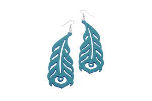 Peacock Feather Pattern Leather Earrings | Erica Zap Designs