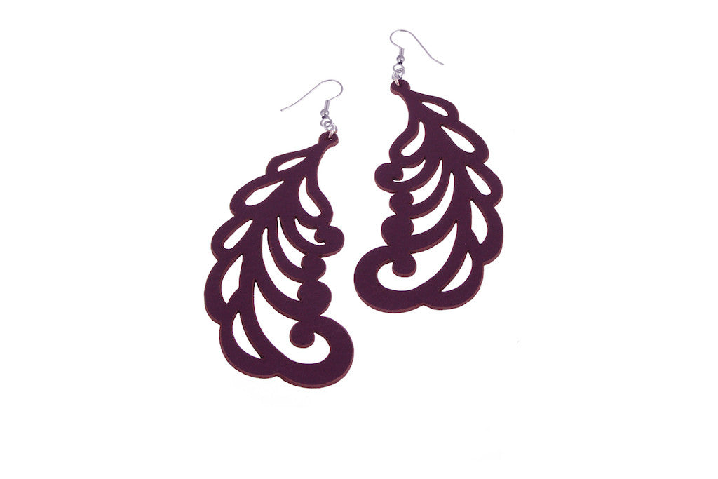 Plume Pattern Leather Earrings | Erica Zap Designs