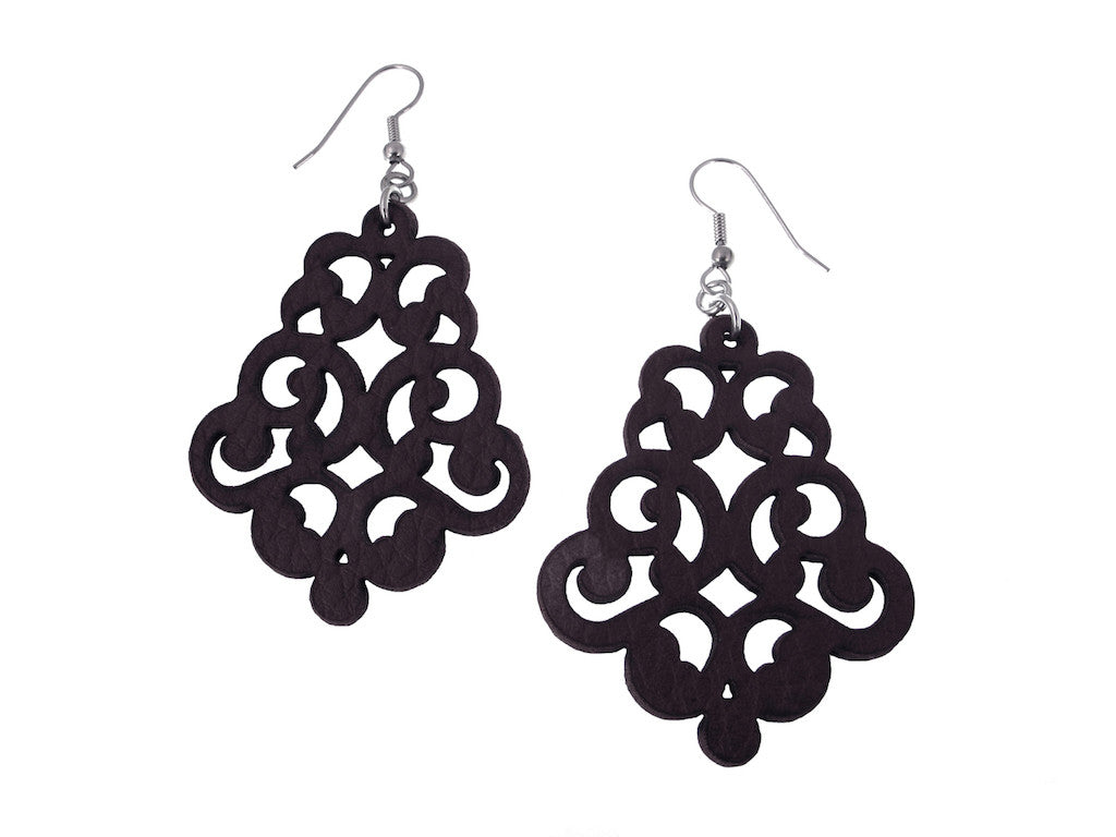 Vintage Lace Leather Earrings - Erica Zap Designs