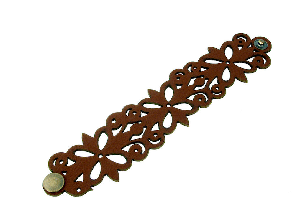 Four Leaf & Scroll Pattern Leather Bracelet - Erica Zap Designs