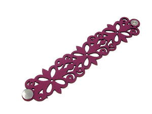 Laser Cut Leather Bracelet | Clover Scroll Pattern | Erica Zap Designs