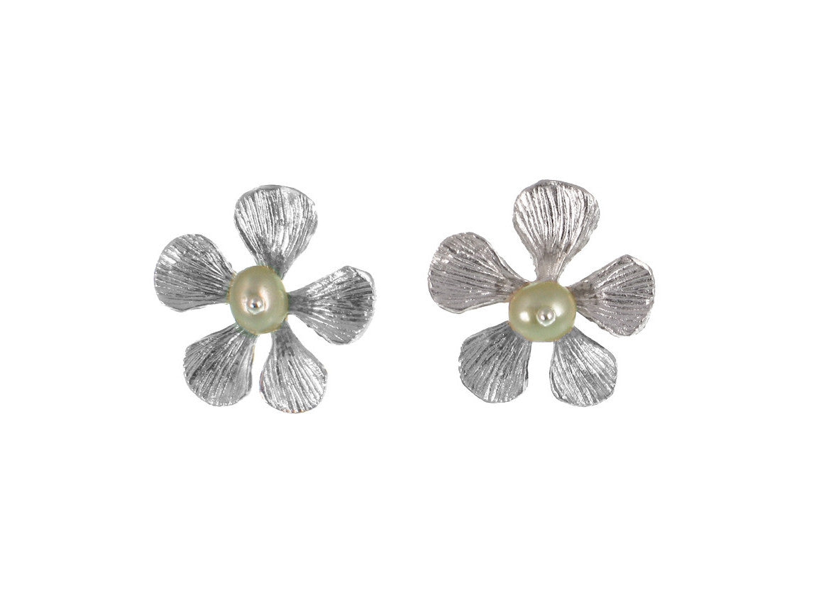 Sterling Filaree Flower & Pearl Earrings | Erica Zap Designs