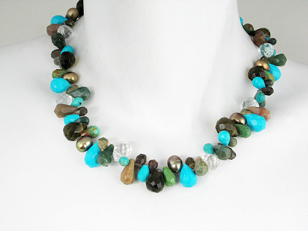 Briolette Stone Necklace | Turquoise Mix - Erica Zap Designs