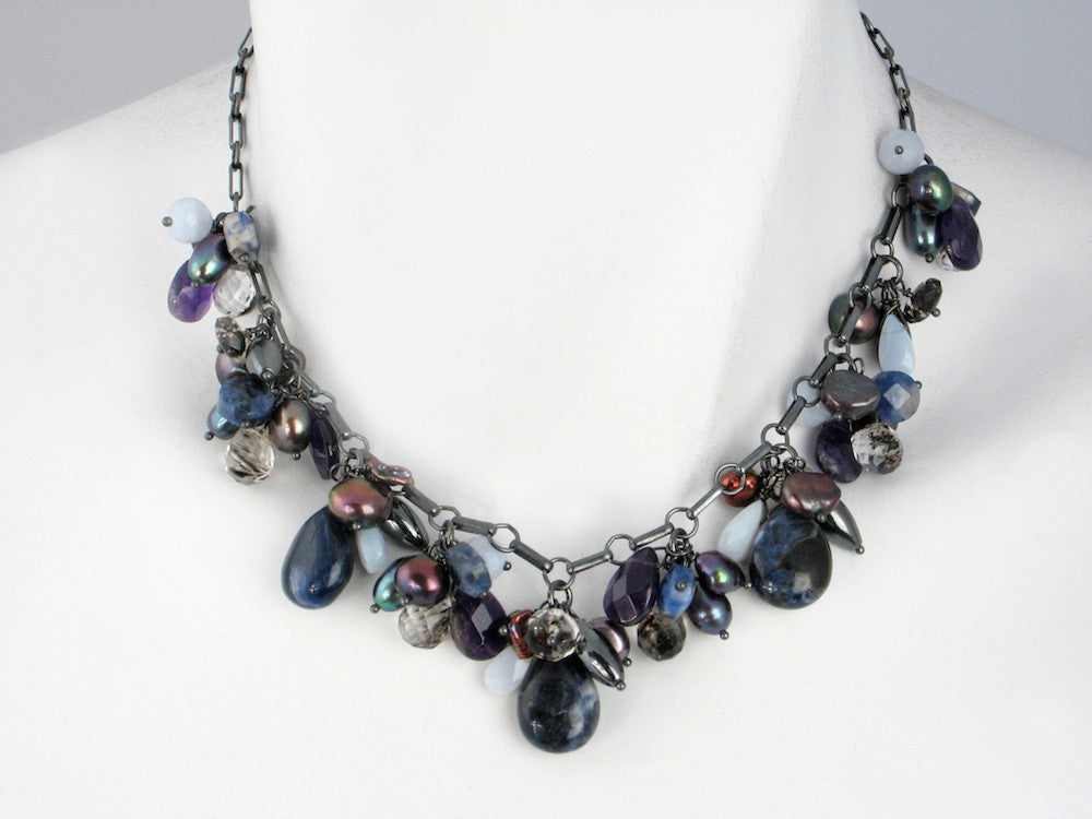 Stone Cluster Necklace | Sodalite Mix