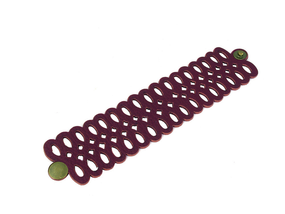 Infinity Loop Pattern Leather Bracelet - Erica Zap Designs