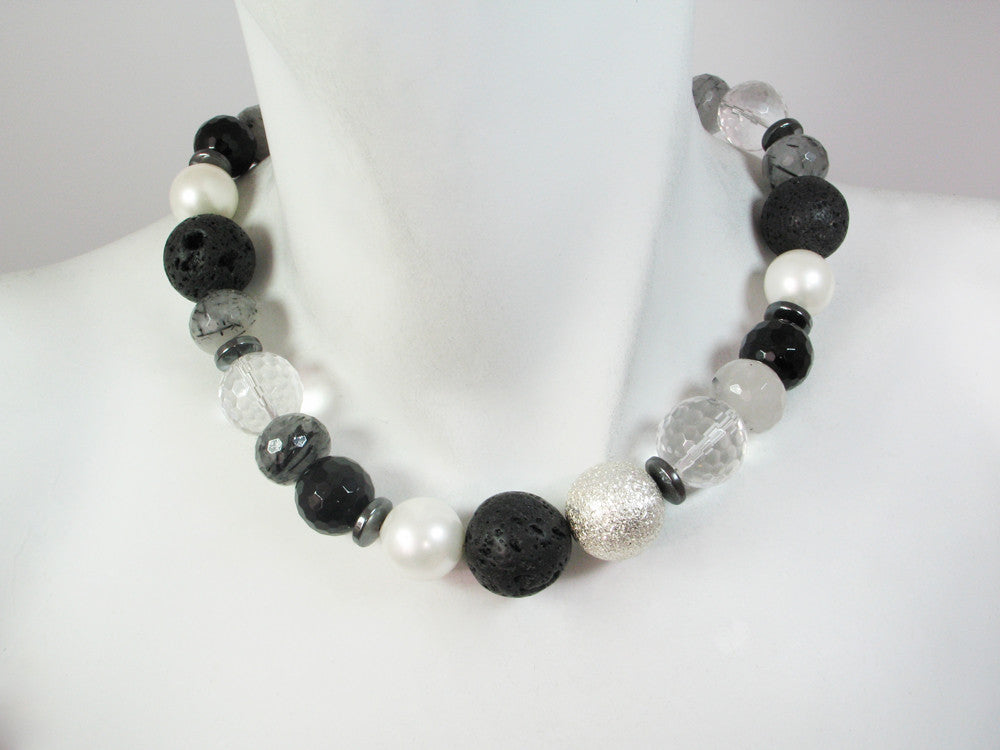 Lava Rock & Stone Ball Necklace | Erica Zap Designs