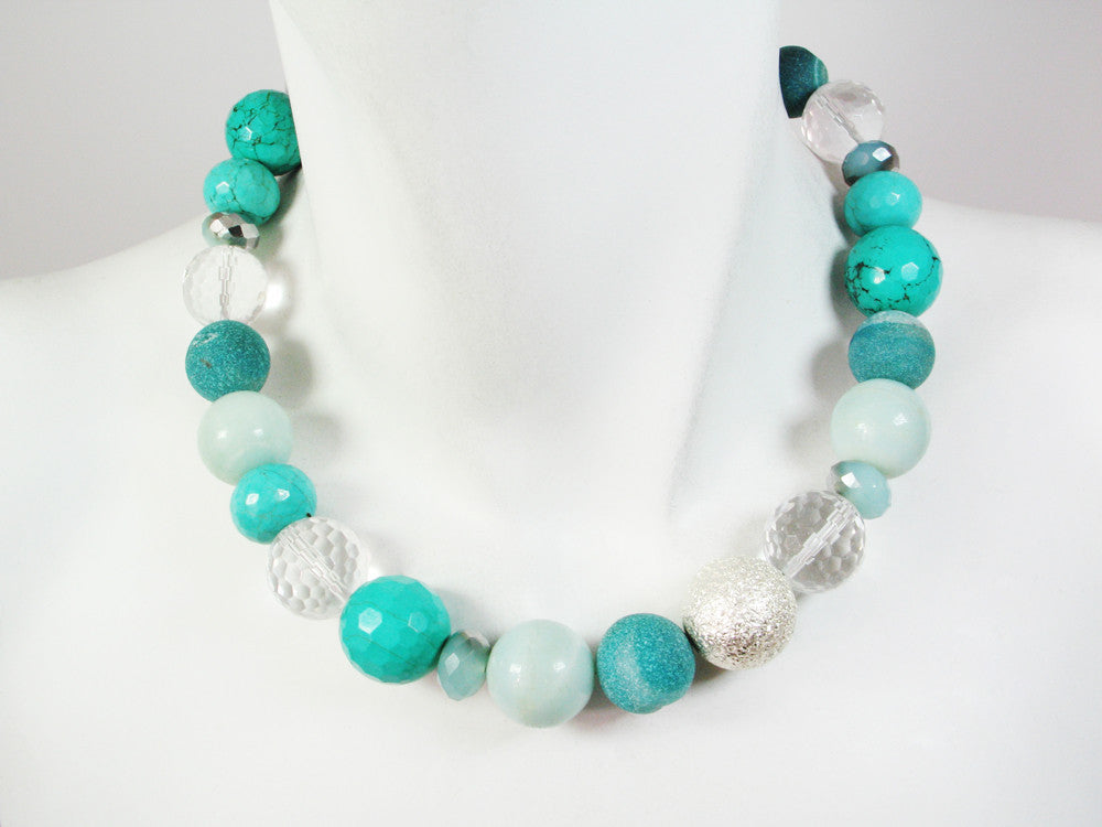 Stone Ball Necklace | Turquoise Mix