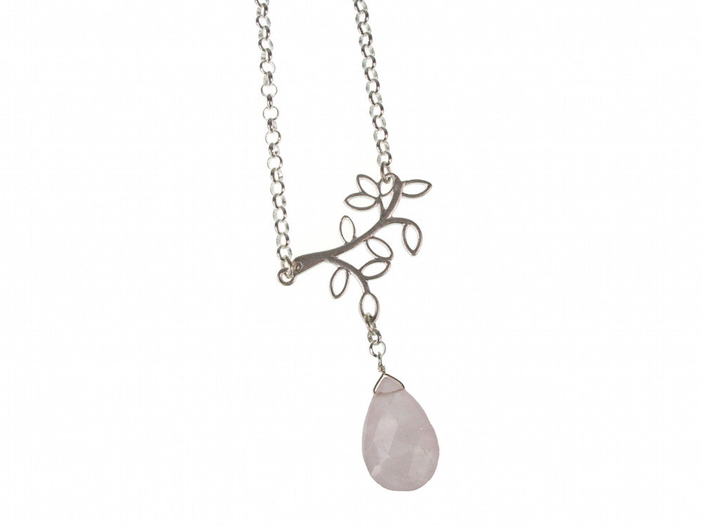 Sterling Branch & Stone Drop Pendant | Erica Zap Designs