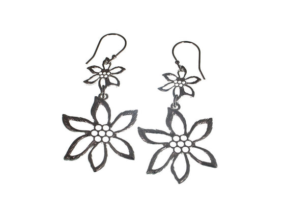 Double Sterling Flower Earrings - Erica Zap Designs