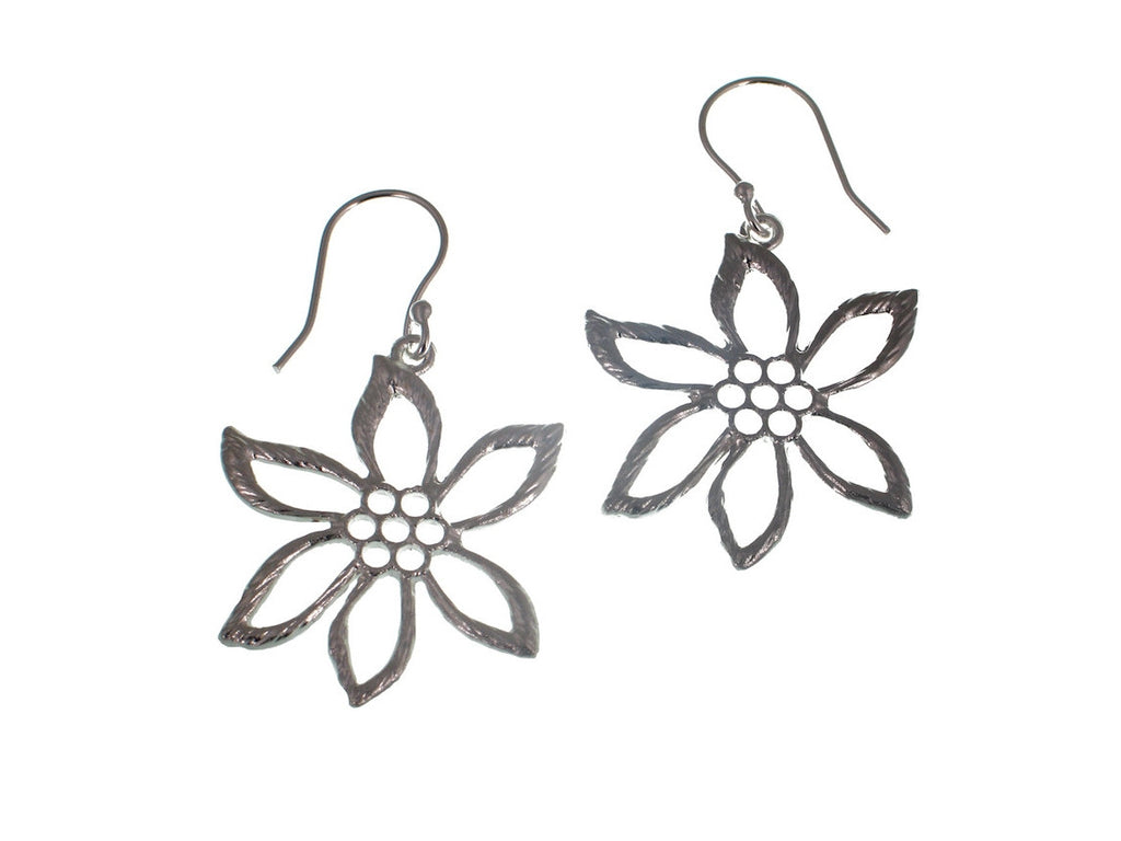 Large Sterling Flower Earrings - Erica Zap Designs