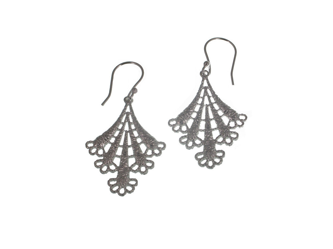 Sterling Lace Triangle Earrings | Erica Zap Designs