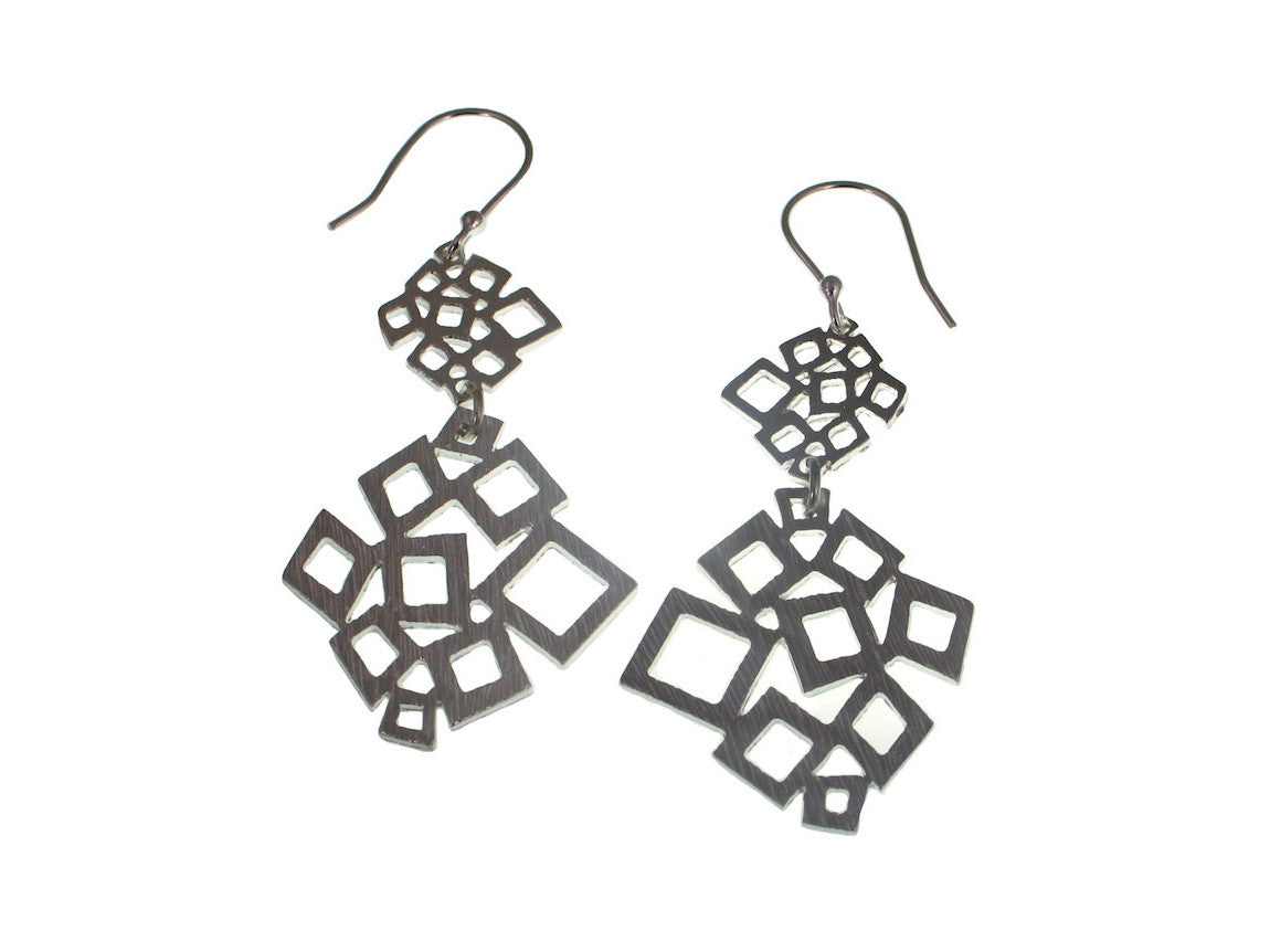 Double Geometric Square Pattern Sterling Earrings - Erica Zap Designs