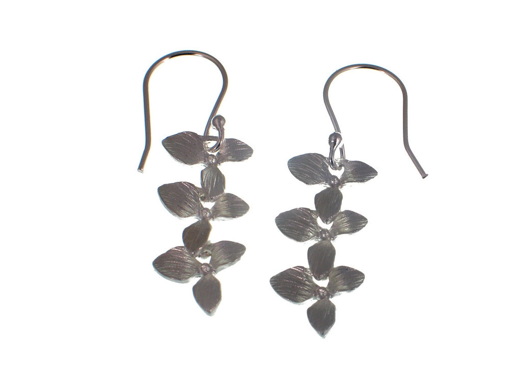 Triple Sterling Leaf Earrings - Erica Zap Designs