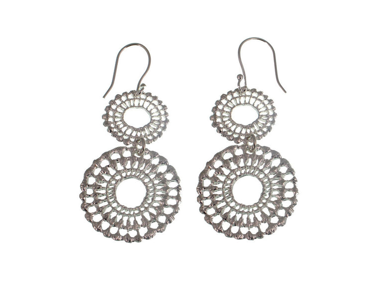 Double Lace Circle Sterling Earrings - Erica Zap Designs