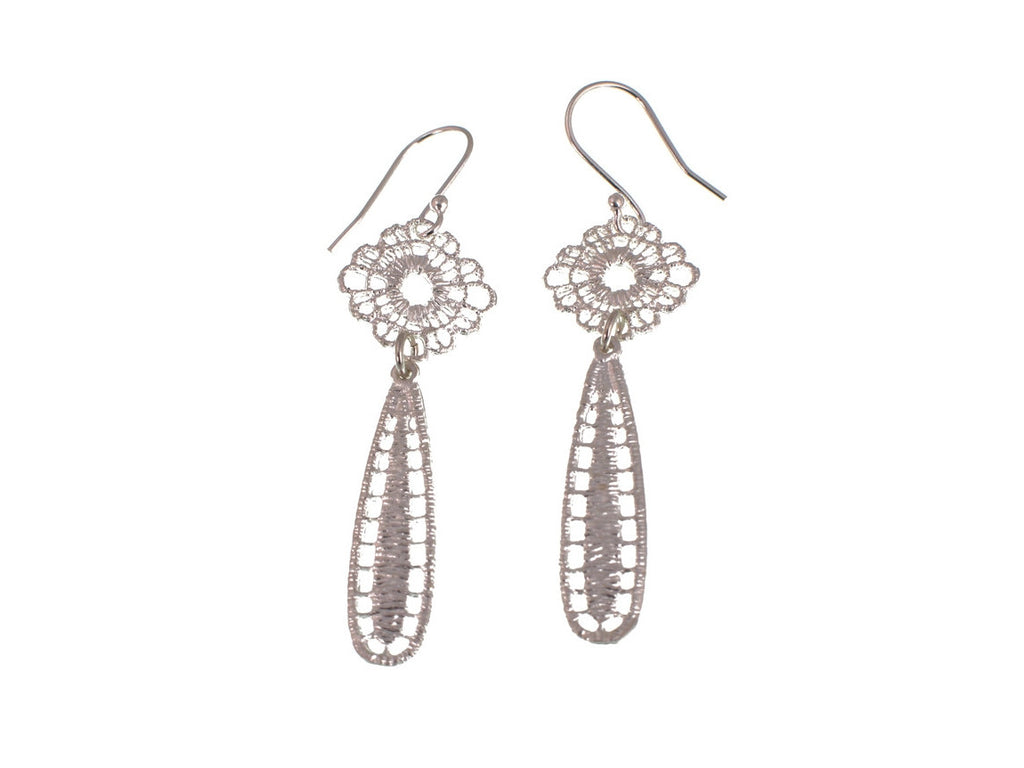 Lace Teardrop Sterling Earrings - Erica Zap Designs