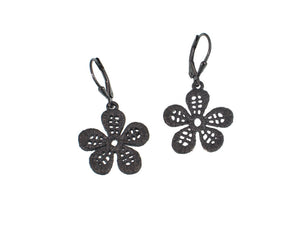 Textured Sterling Flower Earrings | Erica Zap Designs