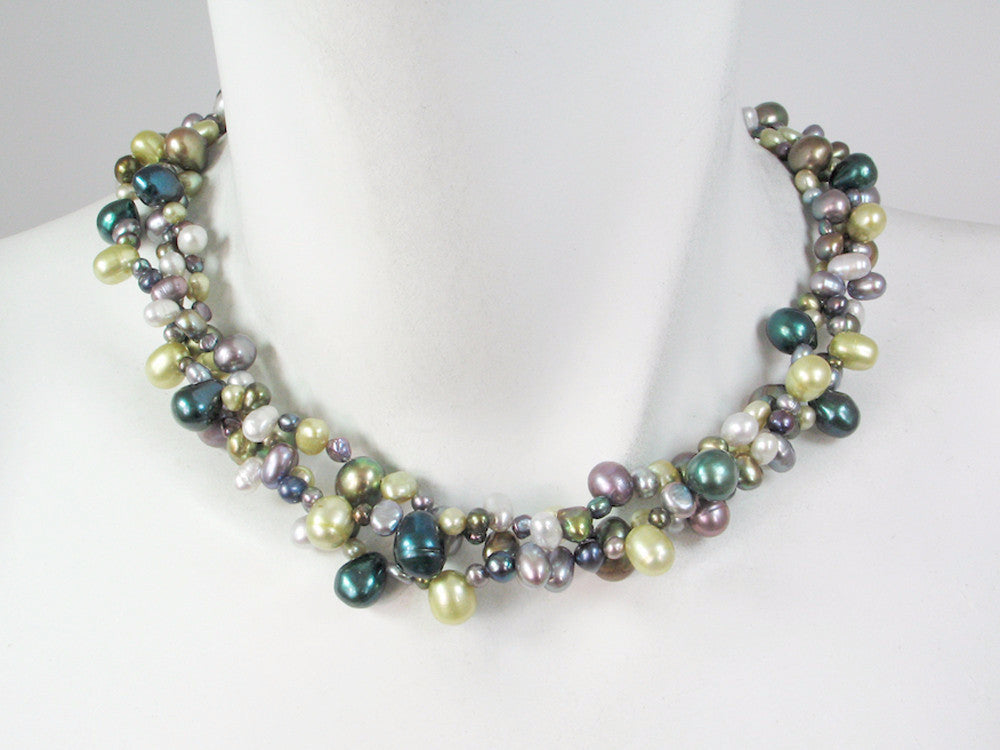 3-Strand Mixed Pearl Necklace - Erica Zap Designs