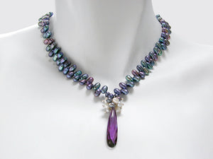 Crystal Drop Pearl Necklace - Erica Zap Designs