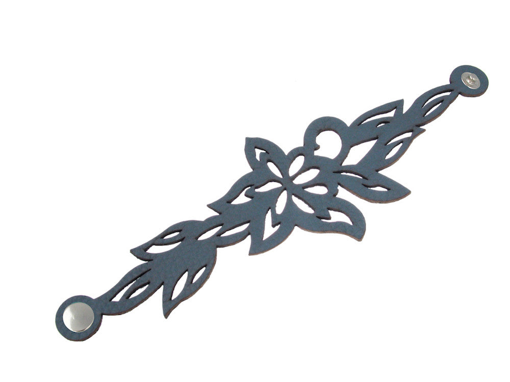 Laser Cut Leather Bracelet | Large Lotus | Erica Zap Designs