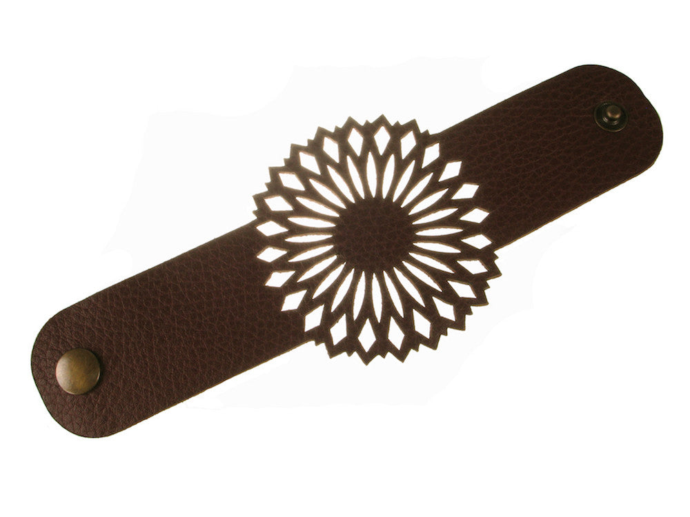 Mandala Inspired Pattern Leather Bracelet - Erica Zap Designs