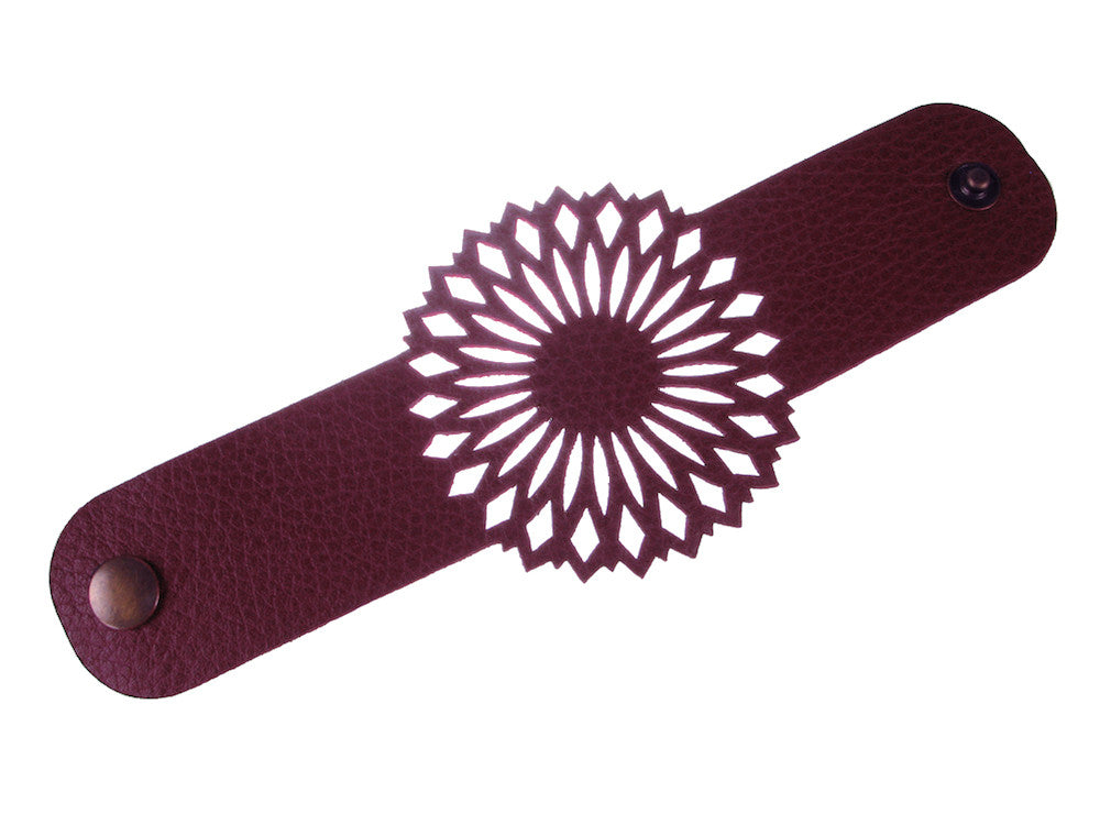Laser Cut Leather Bracelet | Mandala Inspired Pattern | Erica Zap Designs