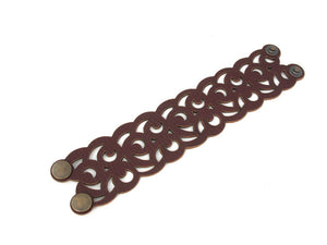 Laser Cut Leather Bracelet | Crescent Moon Swirl | Erica Zap Designs