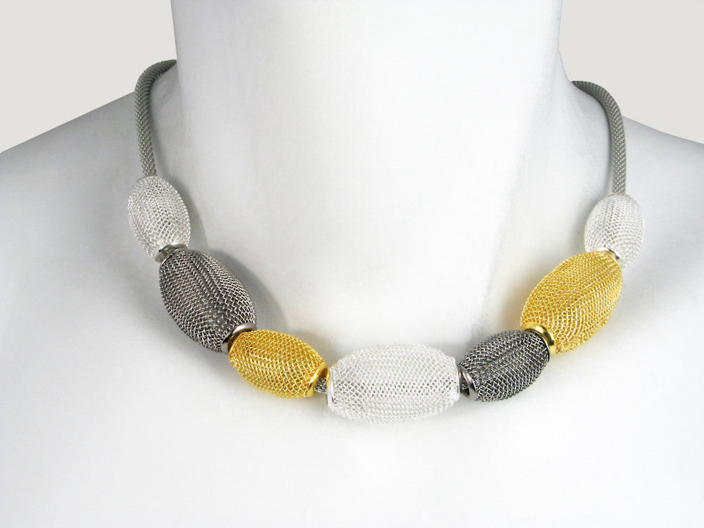 Large Oval Mesh Bead Necklace - Erica Zap Designs