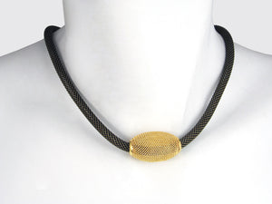 Oval Mesh Bead on Thick Mesh Strand Necklace - Erica Zap Designs