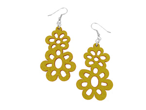 Double Daisy Drop Leather Earrings | Erica Zap Designs