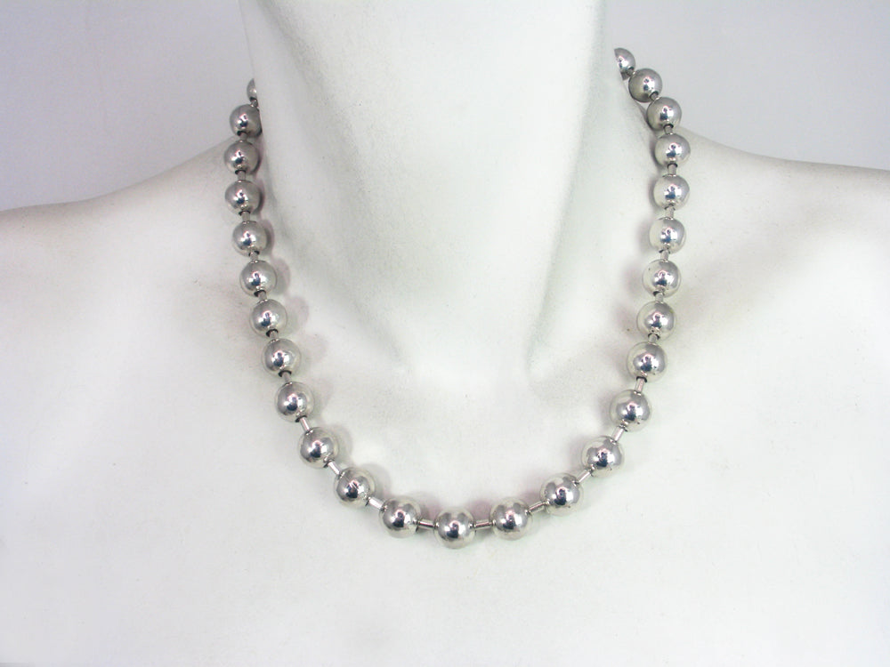 Rhodium Bead Chain Necklace