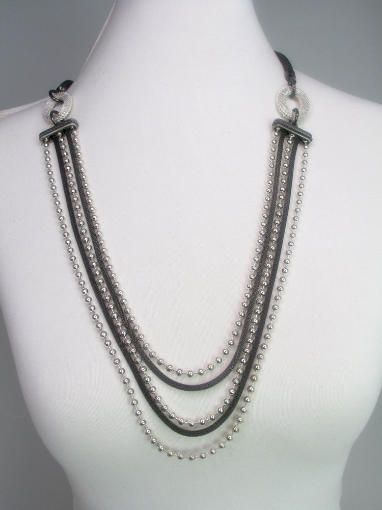 Multi Strand Mesh and Bead Chain Necklace