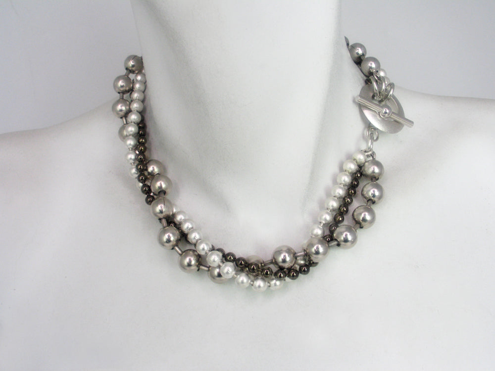 3 Strand Bead Chain Necklace