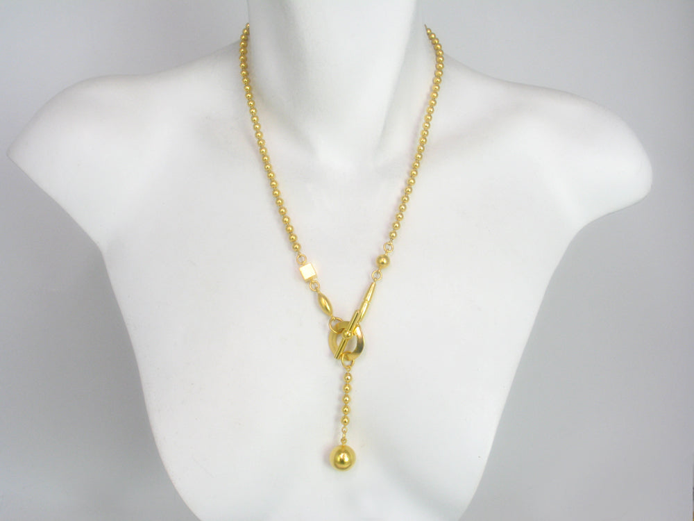 Gold Bead Chain Drop Necklace
