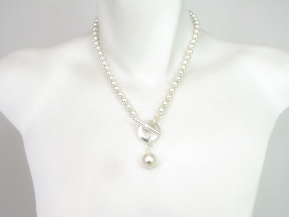 Silver Bead Chain Drop Necklace