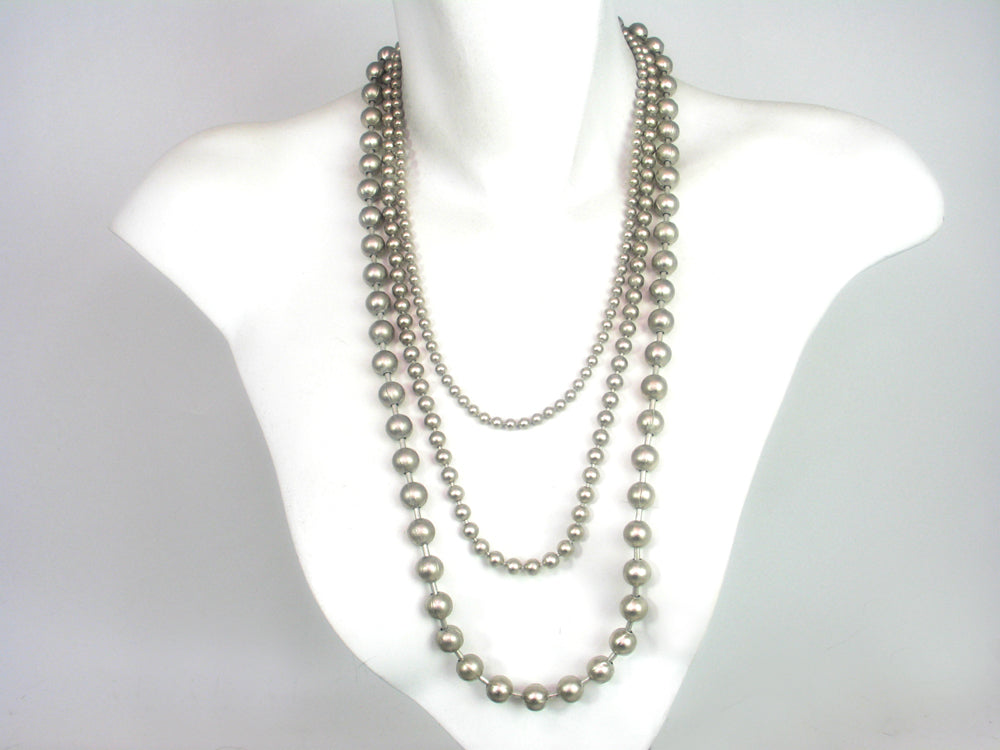 Graduated Three Strand  Bead Chain Necklace