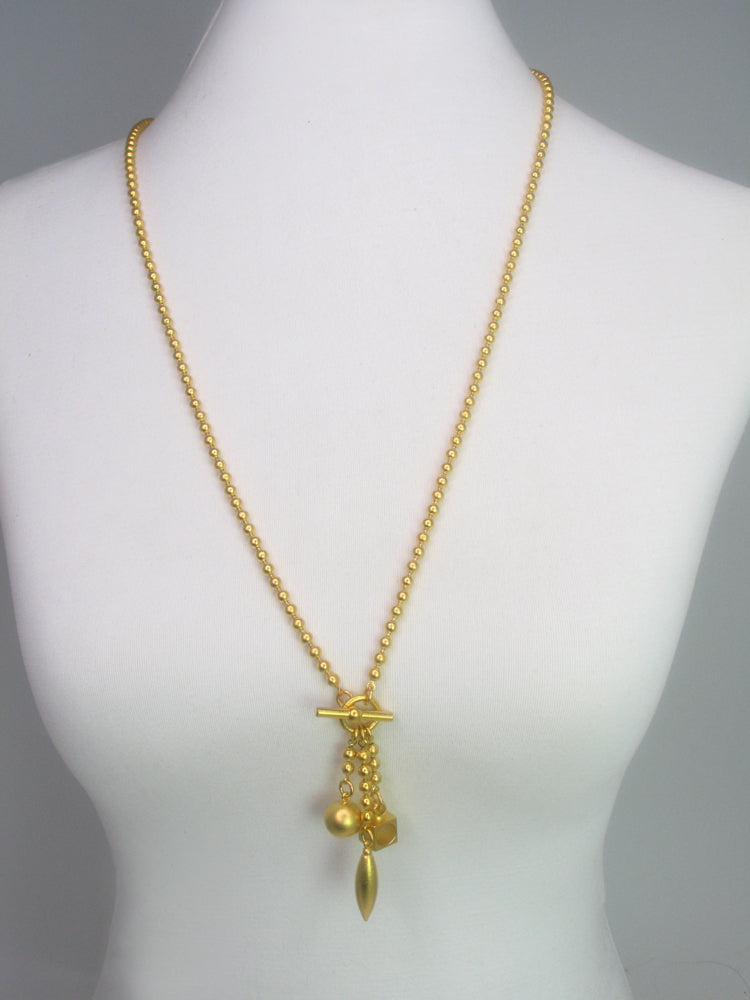 Geometric Drop Bead Chain Necklace