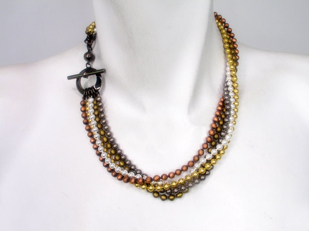 Multi Strand Bead Chain Necklace