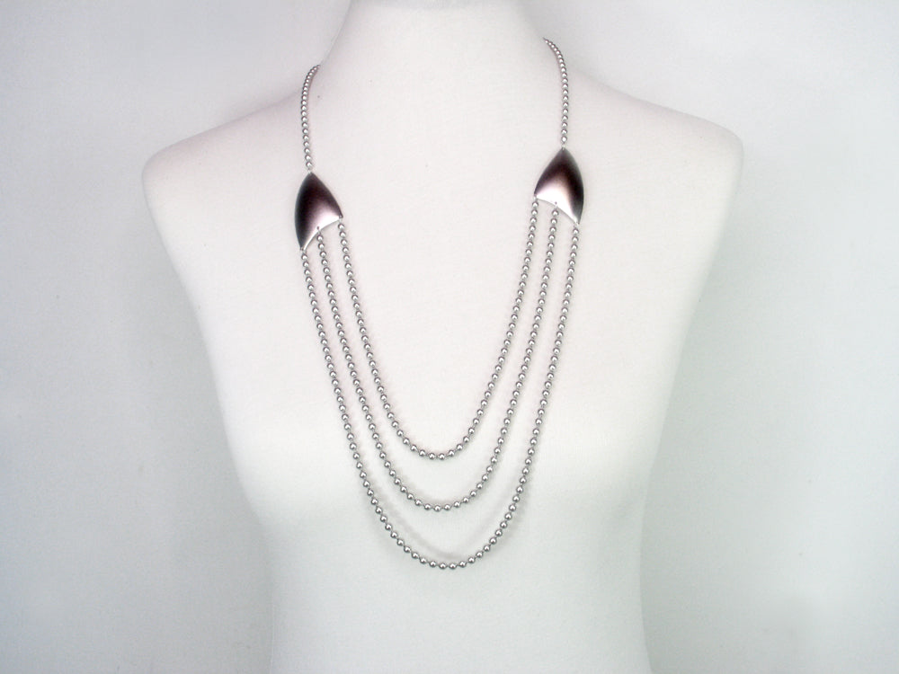 3 Tier Bead Chain Necklace