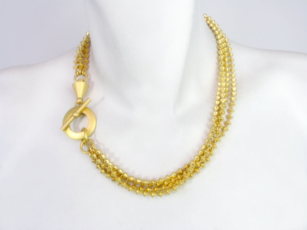Diamond Shape  Strand Bead Chain Necklace