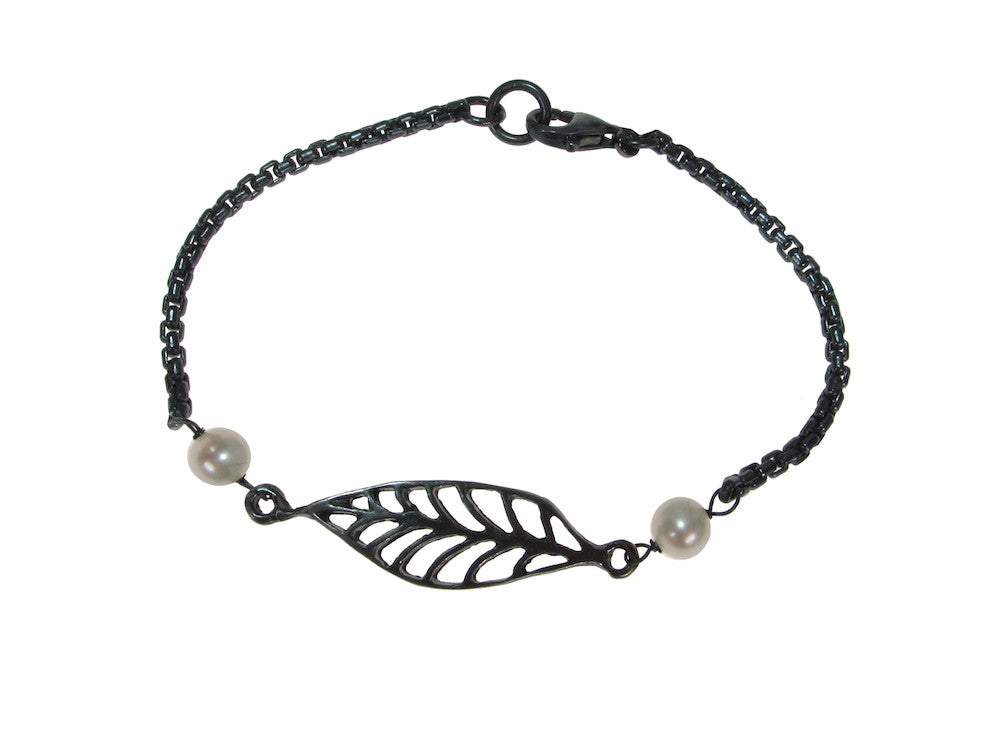 Oxidized Sterling Laurel Leaf & Pearl Bracelet | Erica Zap Designs