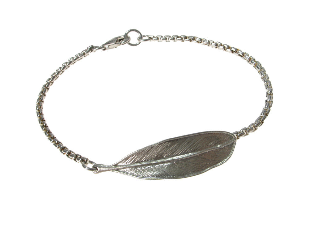 Sterling Chain & Feather Bracelet | Erica Zap Designs