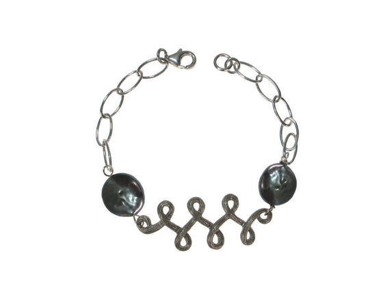 Sterling Chain Bracelet with Swirling Vine & Coin Pearls | Erica Zap Designs