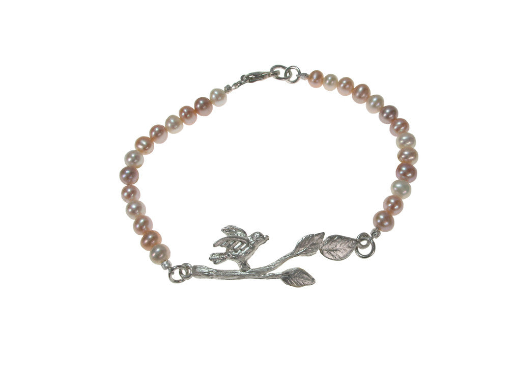 Pearl Bracelet with Sterling Bird on a Branch | Erica Zap Designs