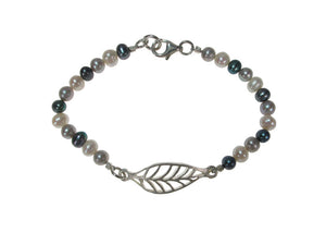 Pearl Bracelet with Sterling Laurel Leaf | Erica Zap Designs