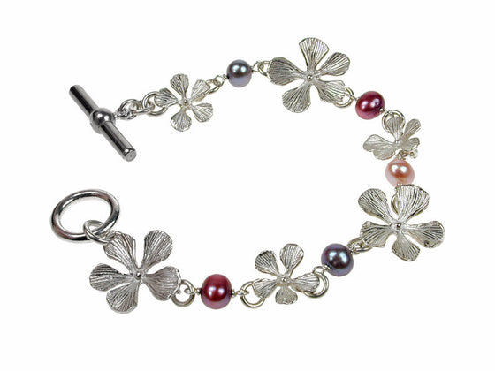 Sterling Filaree Flower & Pearl Linked Bracelet