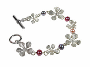 Sterling Filaree Flower & Pearl Linked Bracelet | Erica Zap Designs