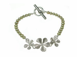 Pearl Bracelet with 3 Sterling Filaree Flowers | Erica Zap Designs