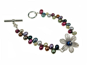 Small Pearl & Sterling Petal Flower Bracelet | Erica Zap Designs