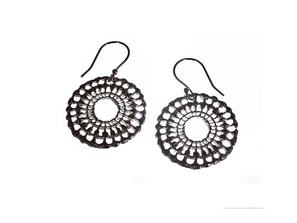 Lace Circle Sterling Earrings - Erica Zap Designs
